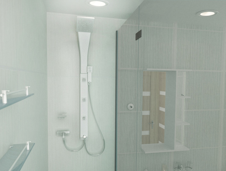 1-но комнатная квартира 51.95m² Ванная комната в стиле минимализм от PLANiUM Минимализм