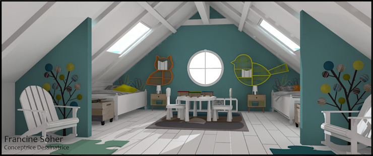 Chambre enfant sous les combles Chambre d'enfant originale par Francine Soher Éclectique
