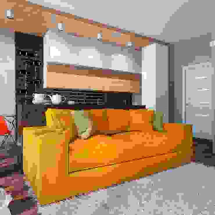 Квартира-студия в стиле Нью-Йорк, ЖК «Новопечерский двор» Гостиная в стиле модерн от UKRINTEL Модерн