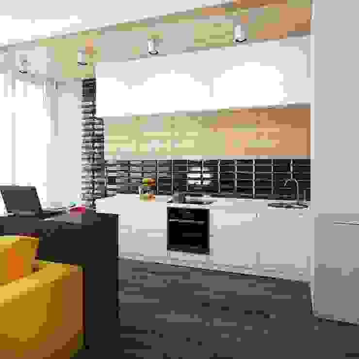 Квартира-студия в стиле Нью-Йорк, ЖК «Новопечерский двор» Кухня в стиле минимализм от UKRINTEL Минимализм