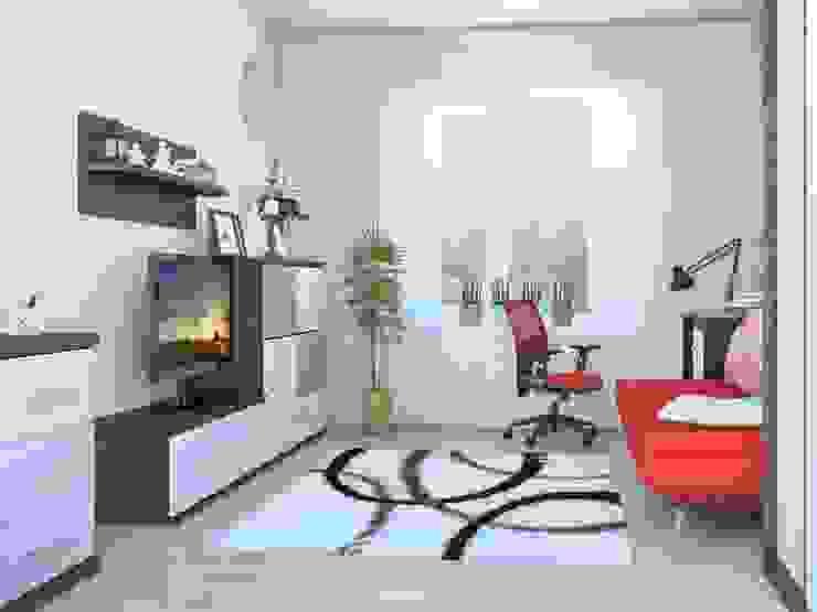 1-но комнатная квартира 36.96m² Гостиная в стиле модерн от PLANiUM Модерн