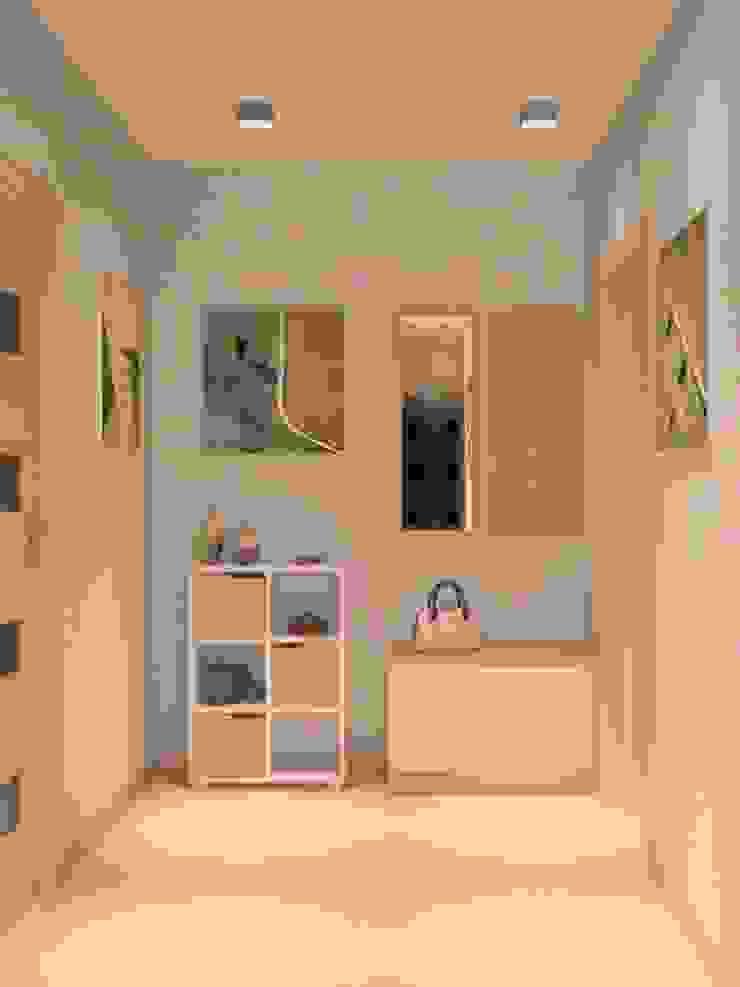 1-но комнатная квартира 36.96m² Коридор, прихожая и лестница в модерн стиле от PLANiUM Модерн
