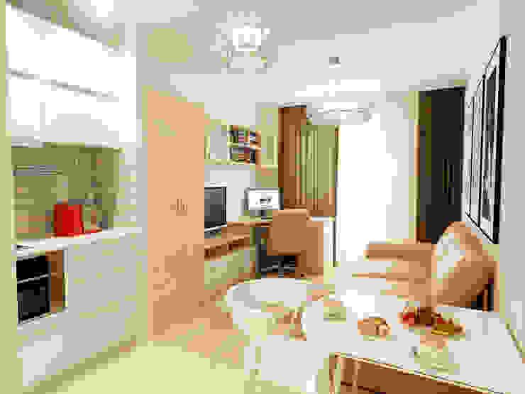 1-но комнатная квартира-студия 23.60m² Гостиная в стиле модерн от PLANiUM Модерн