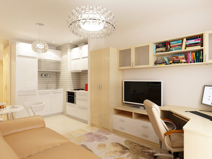 1-но комнатная квартира-студия 23.60m² Кухня в стиле модерн от PLANiUM Модерн