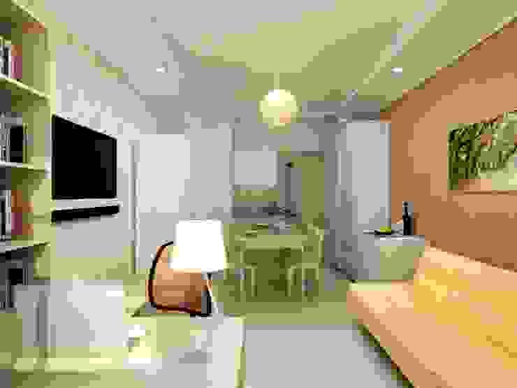 1-но комнатная квартира-студия 27.40m² Гостиная в стиле кантри от PLANiUM Кантри