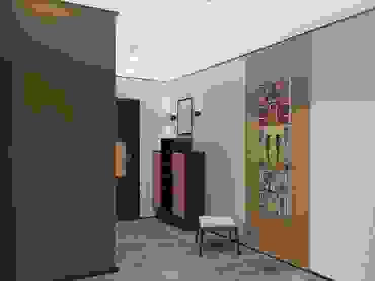 2-х комнатная квартира 82.72m² Коридор, прихожая и лестница в модерн стиле от PLANiUM Модерн