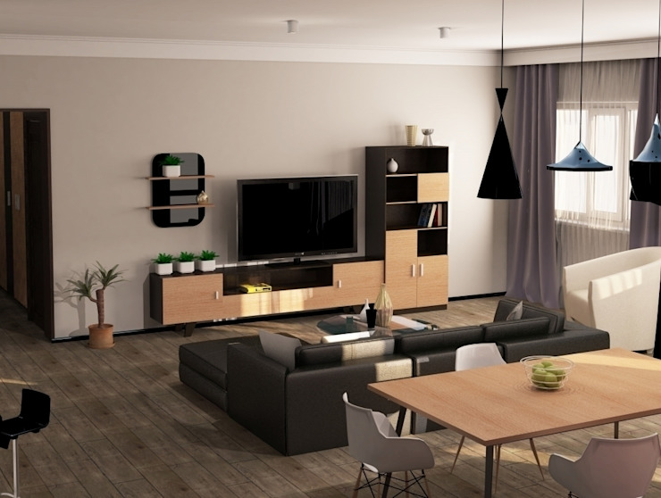 2-х комнатная квартира 82.72m² Гостиная в стиле модерн от PLANiUM Модерн