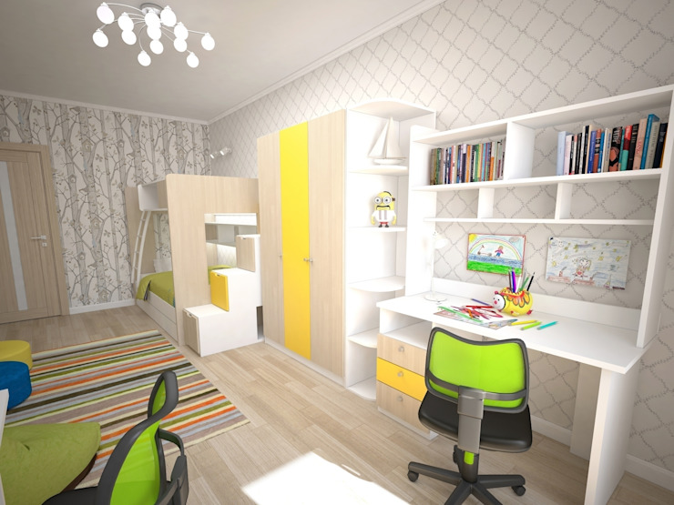 3-х комнатная квартира 75.42m² Детская комнатa в классическом стиле от PLANiUM Классический