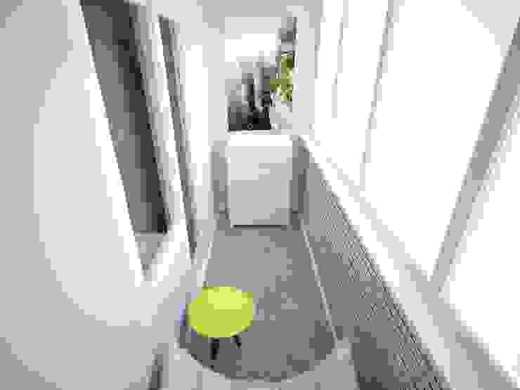 3-х комнатная квартира 75.42m² Балкон в скандинавском стиле от PLANiUM Скандинавский