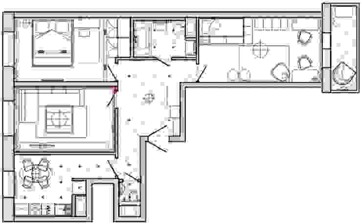 3-х комнатная квартира 75.42m² от PLANiUM Скандинавский