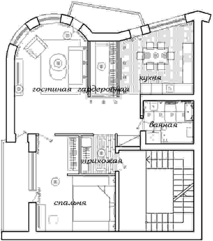 2-х комнатная квартира 78.50m² от PLANiUM Колониальный