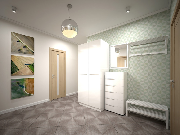 3-х комнатная квартира 75.42m² Коридор, прихожая и лестница в скандинавском стиле от PLANiUM Скандинавский
