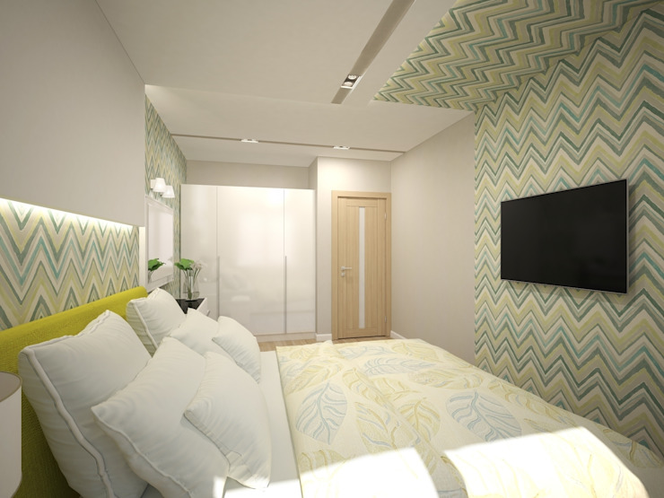 3-х комнатная квартира 75.42m² Спальня в скандинавском стиле от PLANiUM Скандинавский