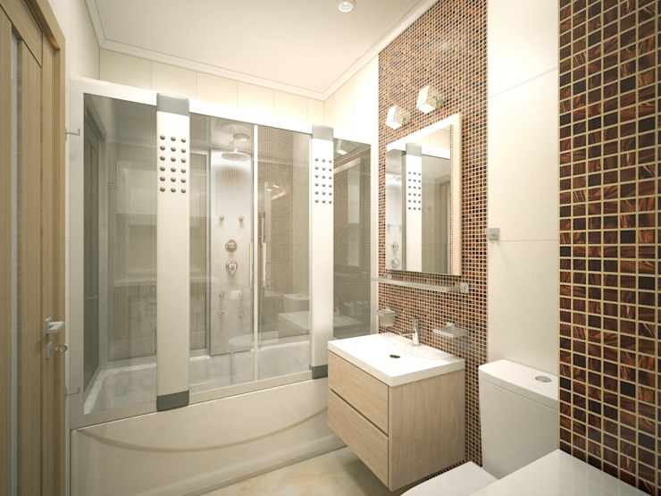 3-х комнатная квартира 75.42m² Ванная комната в стиле модерн от PLANiUM Модерн