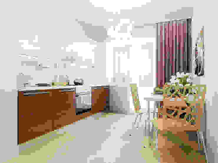 2-х комнатная квартира 54.10m² Кухня в стиле модерн от PLANiUM Модерн