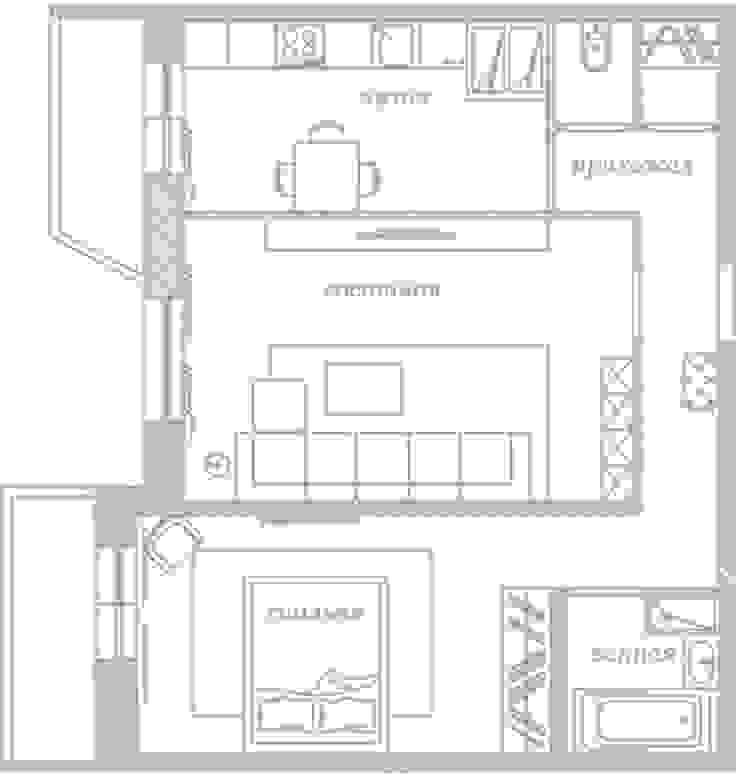 2-х комнатная квартира 61.50m² от PLANiUM Лофт