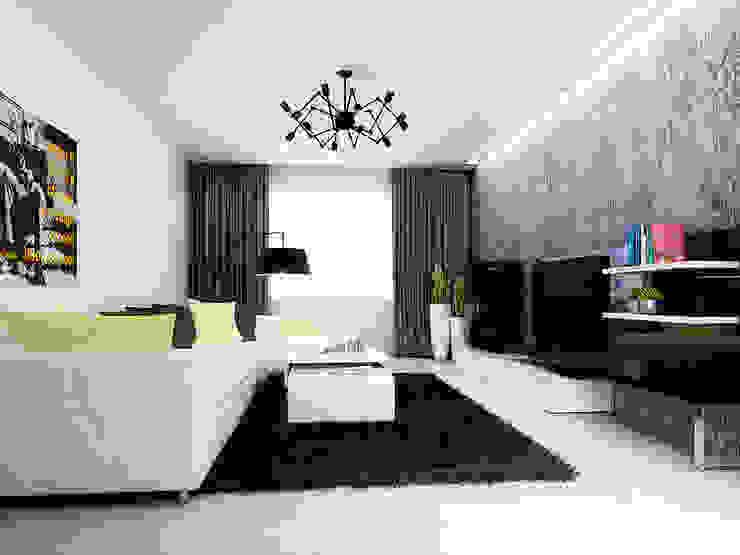 2-х комнатная квартира 61.50m² Гостиная в стиле лофт от PLANiUM Лофт