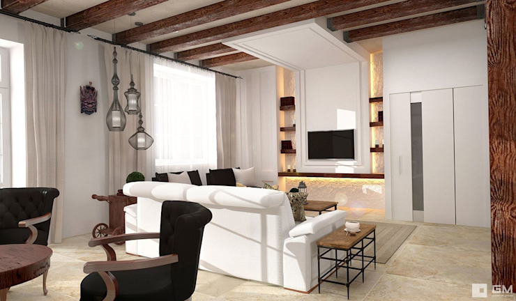 Интерьер дома в колониальном стиле Гостиные в эклектичном стиле от GM-interior Эклектичный