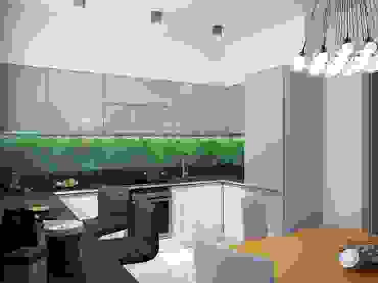 1-но комнатная квартира 37.36m² Кухня в стиле модерн от PLANiUM Модерн