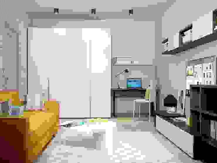 1-но комнатная квартира 37.36m² Гостиная в стиле модерн от PLANiUM Модерн