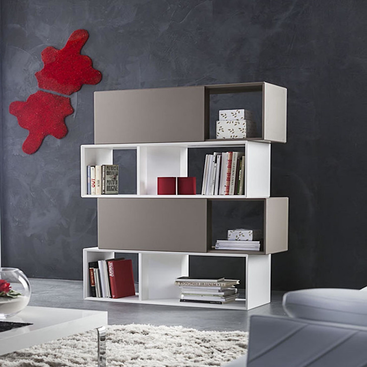 'Lego' Contemporary free standing double-faced bookcase by La Primavera homify Living roomStorage