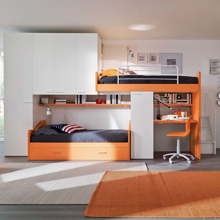 'Orange' Kid's bedroom furniture set by Siluetto por My Italian Living Moderno