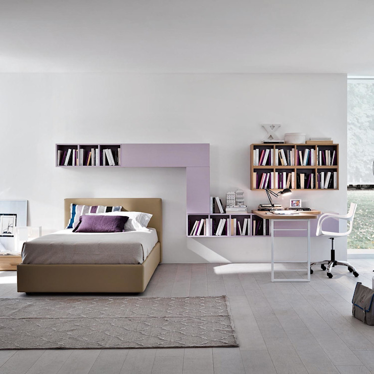 'Lilac' Girl's study/bedroom furniture set by Siluetto: modern  by My Italian Living, Modern