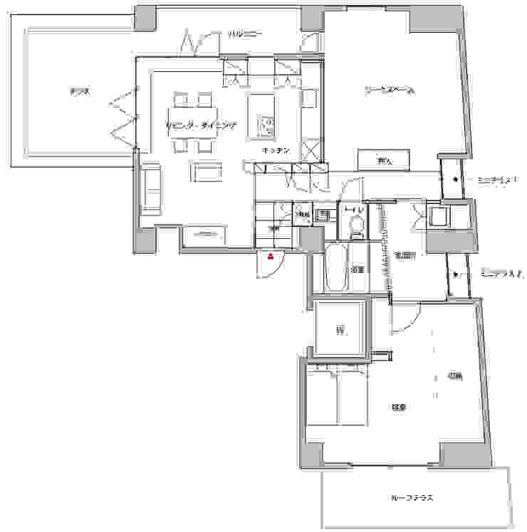 屋外スペースと友達になったマンション内装計画: ティー・ケー・ワークショップ一級建築士事務所が手掛けたスカンジナビアです。,北欧