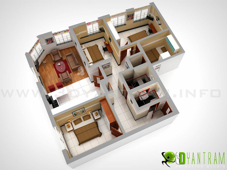 3D Floor Plan Design bởi Yantram Architectural Design Studio