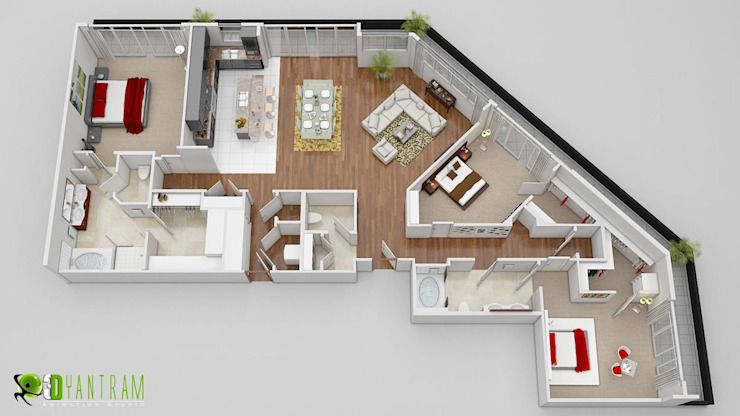 3D Floor Plan CGI Design van Yantram Architectural Design Studio