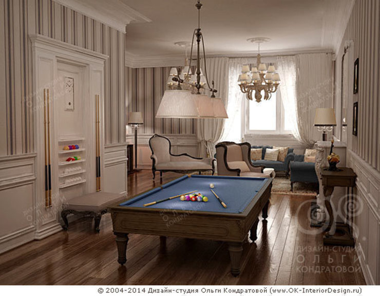Бильярдная в гостиной Гостиная в классическом стиле от Дизайн студия Ольги Кондратовой Классический