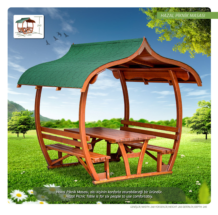 Otantik Çarşı – Hazal Piknik Masası:  tarz Bahçe,