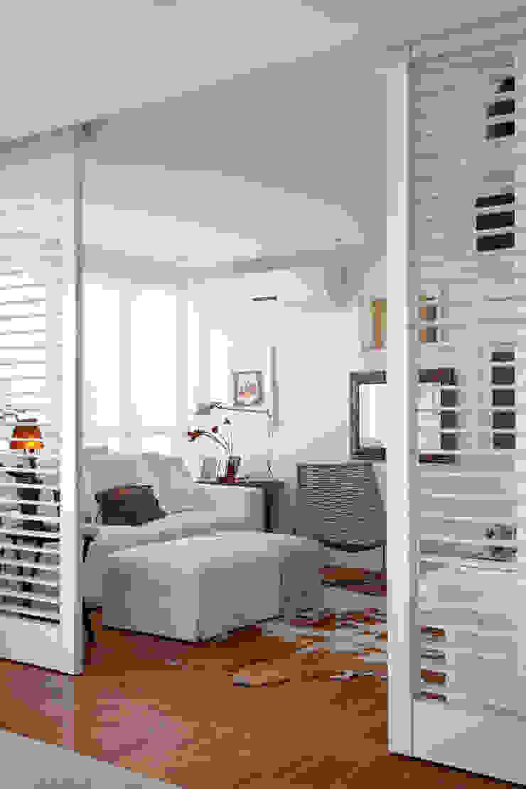 Ambientes integrados: Home Theater Salas multimídia ecléticas por Angela Medrado Arquitetura + Design Eclético
