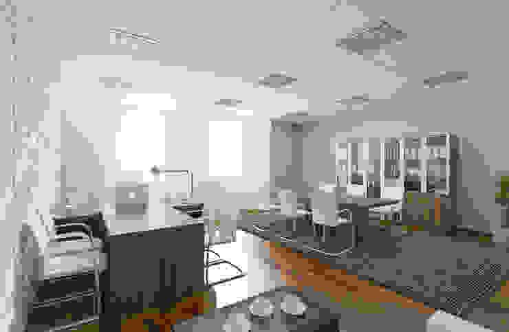 Современный кабинет, для руководителя среднего звена Офисные помещения в стиле лофт от дизайнер Алина Куракова Лофт