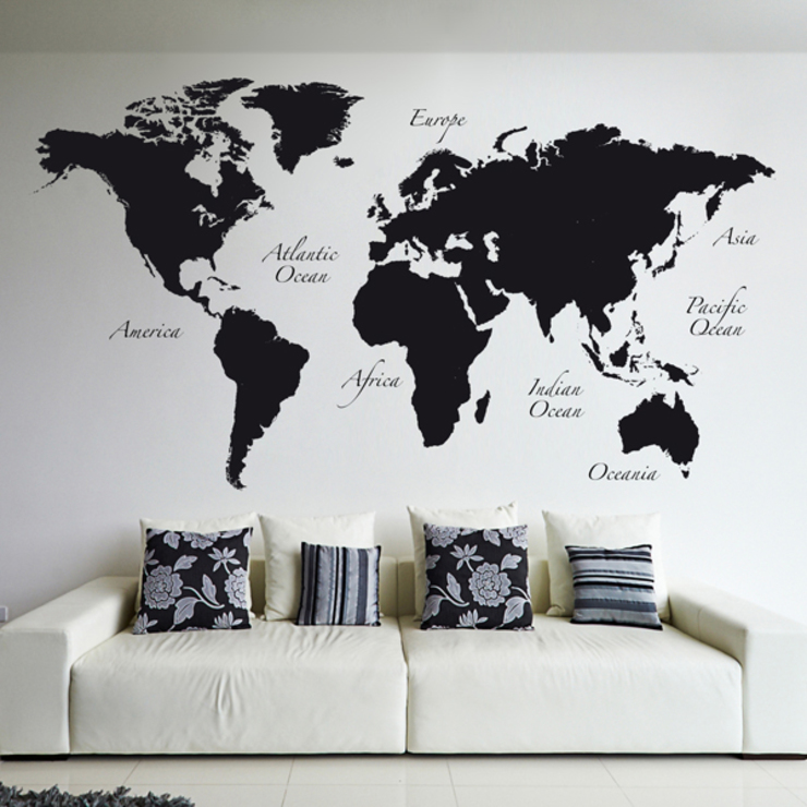 Black World Map di Crearreda Moderno PVC