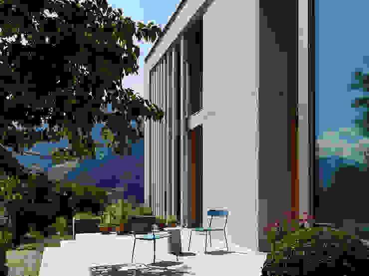 Ostfassade mit Terrasse Moderner Balkon, Veranda & Terrasse von feliz Modern