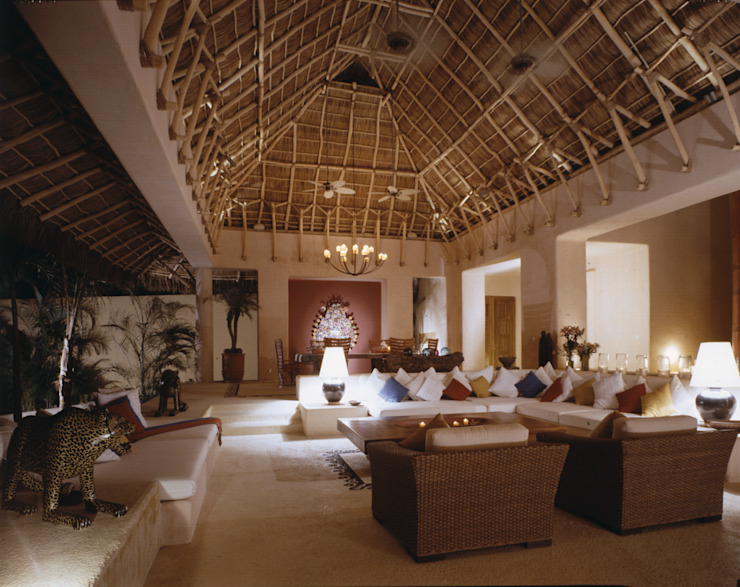 Casa Cuixa Salones tropicales de BR ARQUITECTOS Tropical