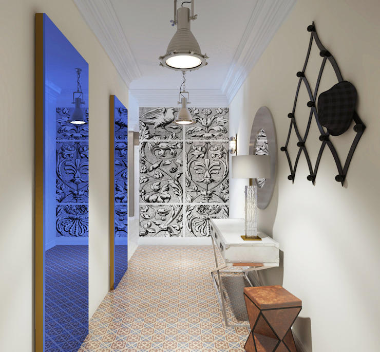 Квартира на ул. Гарибальди Коридор, прихожая и лестница в эклектичном стиле от FAOMI Эклектичный