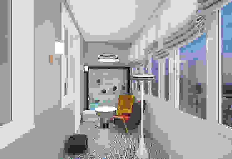 Квартира на ул. Гарибальди Балконы и веранды в эклектичном стиле от FAOMI Эклектичный