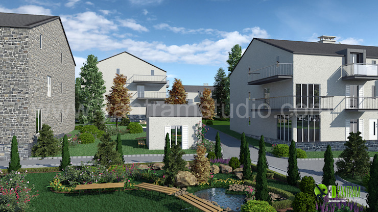 3D Small Residential Home Rendering Design: modern  by Yantram Architectural Design Studio, Modern