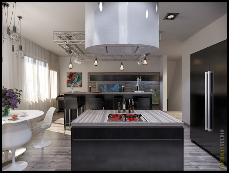 Дизайн проект от RichmanStudio. Гостиная и кухня для молодой и активной супружеской пары из г.Харьков. Гостиная в стиле минимализм от RichmanStudio Минимализм