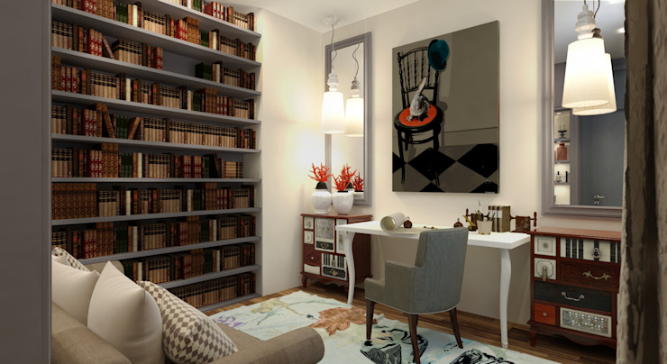 Ruang Studi/Kantor Gaya Eklektik Oleh KOSHKA INTERIORS Eklektik