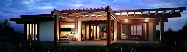 Render 3d di una vista esterna 3dforme Case moderne