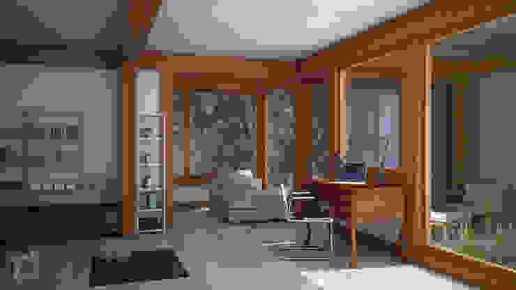 Render 3d di una seconda vista del salone 3dforme Soggiorno eclettico