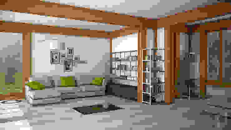 Render 3d di una terza vista del salone 3dforme Soggiorno eclettico