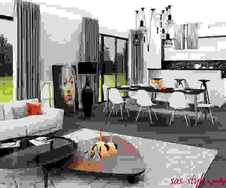Загородный дом 160 м.кв Гостиная в стиле минимализм от Студия Аксаны Ситниковой Минимализм