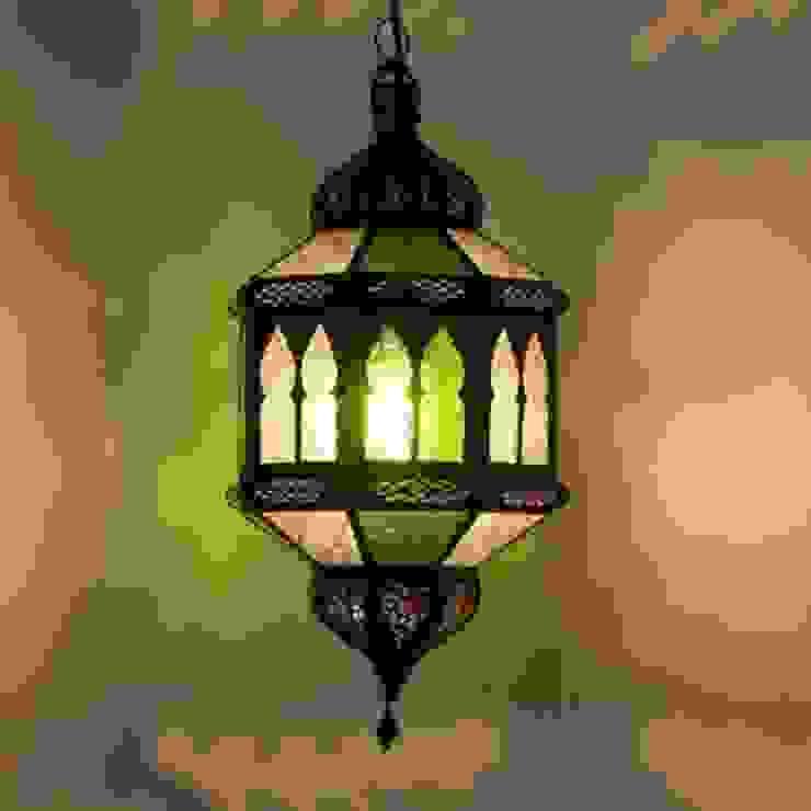 Lampa z Maroko TROMBIA BIBAN biało-zielona od DomRustykalny.pl Rustykalny