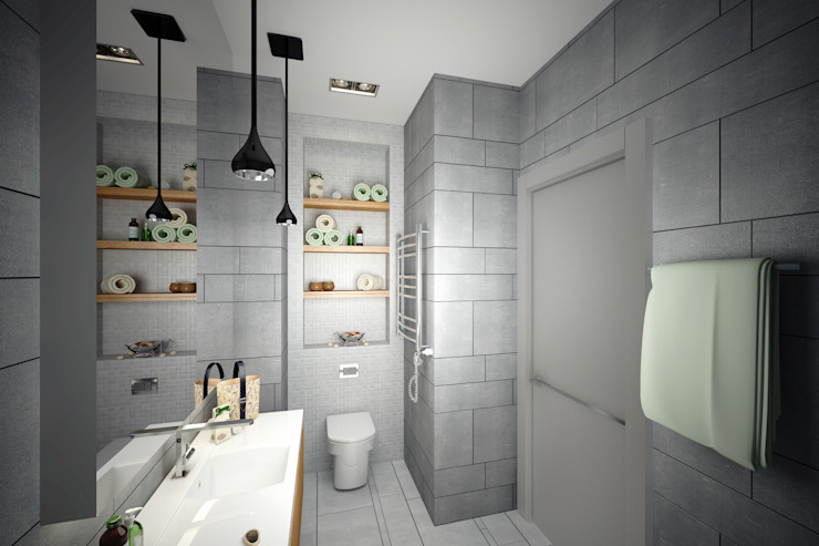 Нескучный минимализм Ванная комната в стиле минимализм от Анастасия Муравьева Минимализм