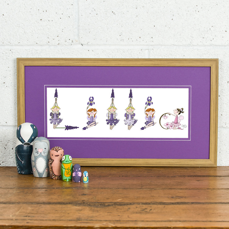 FromLucy - Fairy Name Personalised Print - Purple Mount oak frame by FromLucy Кантрi