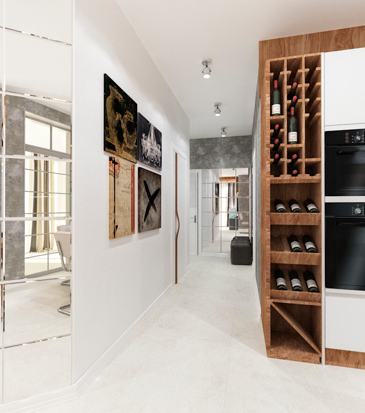 Квартира холостяка в Сочи Коридор, прихожая и лестница в модерн стиле от Настасья Евглевская Модерн
